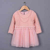 Free shipping 2015 new Long Sleeve Crochet & Pearls necklace Decoration Children's Spring Lace TUTU Dress Kids Spring lace dress