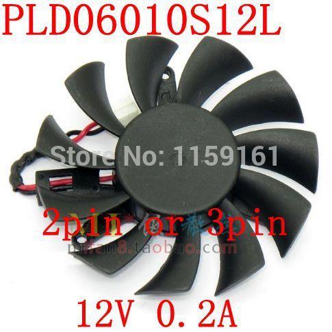 Free Shipping PLD06010S12L 55mm 2pin or 3pin Graphics card fan(China (Mainland))