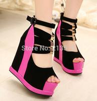 2015 Fashion sexy platform open toe sandals high-heeled wedges shoes women's summer sandals