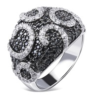 CZ Cubic Zirconia Ring Black White Round Lines Dome 3D Big Chunky Style Fashion 2015 Wedding Party Cool Jet New Grand - VC Mart