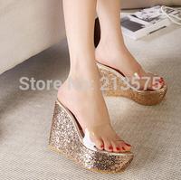 Summer home transparent paillette open toe platform wedges heels platform gold platform sandals