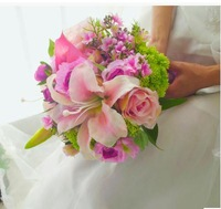 Fleshy pink married the bride bouquet/hand bouquet/high-end bride bridesmaid lilies in hand