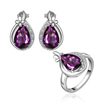 Luxury Wedding Jewelry Beautiful Design Purple Crystal Jewelry Sets Earring + Ring 18K White Gold Jewelry Set For Women FVS056