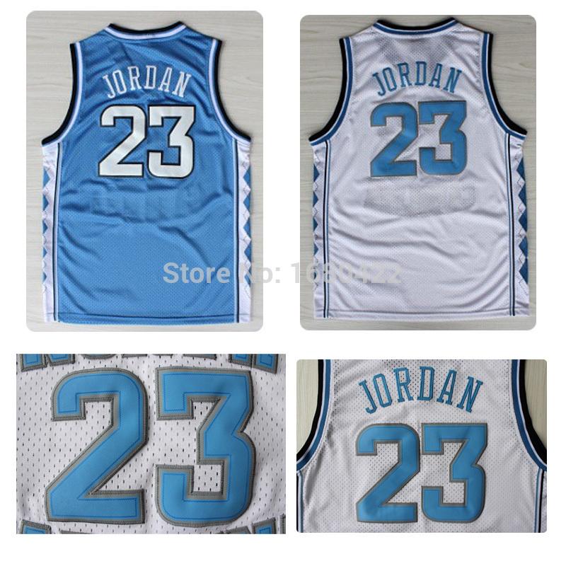 New Arrival Top Quality #23 Michael Jordan North Carolina Jersey Embroidery White Blue Basketball Shirt Free Shipping(China (Mainland))