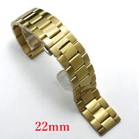 Solid Watchband 22mm Golden Color Bracelet for Hours GD014022