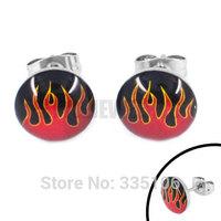 Free shipping! Enamel Flame Motor Biker Earring Stainless Steel Jewelry Cool Motorcycles Biker Earring Studs SJE370132A