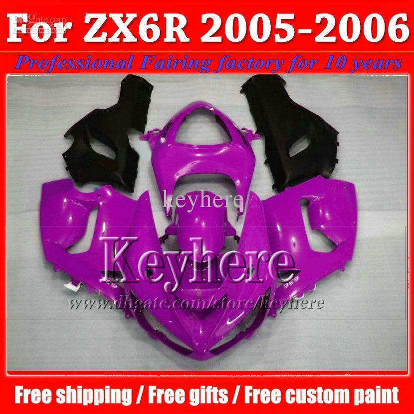 High quality popular black purple 2005 2006 body kit ZX6R fairing kit KAWASAKI ZXC 05 06 hot sale plastic kit parts C318(China (Mainland))