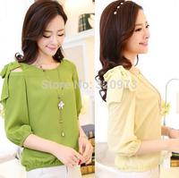 M-XXLsize blusas femininas 2015 korean style plus size three quarter sleeve candy women summer blouses free shipping