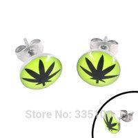 Free shipping! Enamel Marijuana Leaf Earring Body Piercing Stainless Steel Jewelry Trendy Motor Biker Earring Studs SJE370020A