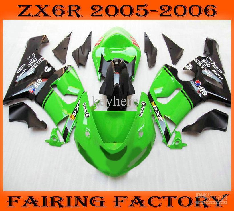 Green/black moto ABS ZXC kit for 2005 2006 KAWASAKI ZX6R fairing kit 05 06 aftermarket(China (Mainland))