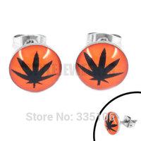 Free shipping! Enamel Orange Marijuana Leaf Earring Body Piercing Stainless Steel Jewelry Motor Biker Earring Studs SJE370129A