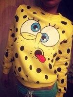 New 2014 women fashion cartoon print long sleeve pullover hoody sweatshirt s m l