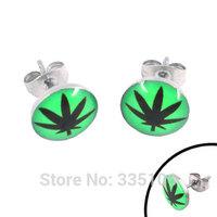 Free shipping! Enamel Green Marijuana Leaf Earrings Stainless Steel Jewelry Trendy Motor Biker Earring Studs SJE370020-2A
