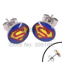Free shipping! Enamel Superman Earring Body Piercing Stainless Steel Jewelry Blue Trendy Biker Earring Studs SJE370001A