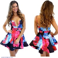 Sophisticated Plunging Cutout Neck Print Skater Dress LC21849