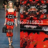 15021949 NEW design 2015 Printed high quality heavy Silk Satin Fabric for silk dress 140g