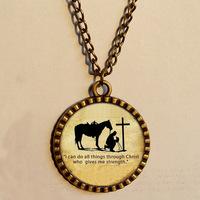 Wholesale 6$ PRAYING COWBOY Pendant  Necklace Cross Horse Christian Art Glass Fashion Jewelry Chain Gift Vintage lot
