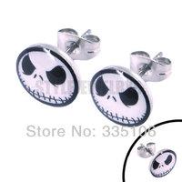 Free Shipping! Enamel Jack Ghost skull Earrings Stainless Steel Jewelry Fashion Lovely Motor Earring Studs SJE370041A