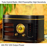 Tube Hybrid Radio High Sensitivity 6N2 Preamplifier 12W Output Power AM /FM 4 Inch Speaker Desktop Wooden Cabinet