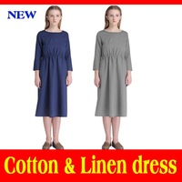 Vestido Sale Original Women Dress Spring Autumn 2015 New Cotton Linen For Simple O-neck Long Sleeve Fashion Loose Folds Dresses