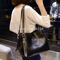 15 new European and American ladies PU big bag briefcase shoulder bag large capacity black stylish simplicity Messenger shipping