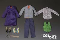1/6 Custom Heath Ledger 2.0 Costume Set Joker DX11 Jacket Pants Suit