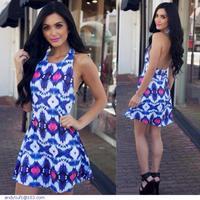 Sexy Backless Halter Print Dress LC21853