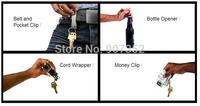 Multi-function Brand Men's Stainless Steel Money Clip+belt and pockket clip+cord wrapper+Bottle Opener+Key Rings free shipping
