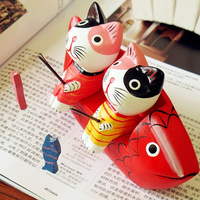 2pcs/set   zakka Hand made Wood Crafts small fishing cats office home decoration gift Photography props A413