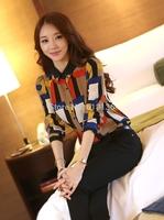 2015 Fashion  Blusas summer  Women Clothing   Long Sleeve Chiffon Women Blouses Printed Grid Blouse Shirt  femininas women tops