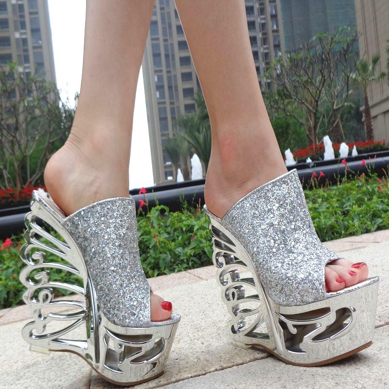 Fashion women sandals 16cm platform ultra high frework heels open toe cutout wedges,DHL EMS UPS TNT(China (Mainland))