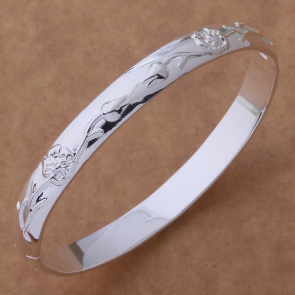 2015 new designer silver flower bracelet bangle for girlfriend fashion steel rose silver wedding bracelets for women party AS086(China (Mainland))