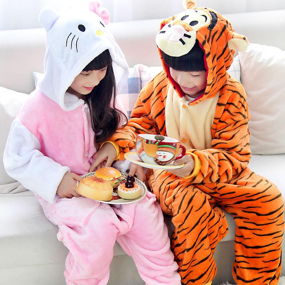 New Winter Flannel Animal Pajamas Cute Cartoon Costumes Sleepwear Cosplay Onesies Cat/Tigger Homewear Kids Height 95-145cm(China (Mainland))