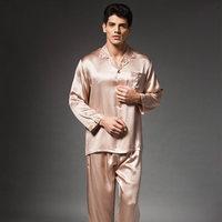 man 100% mulberry silk silk pajamas long delicate printing suit brought Charm9302