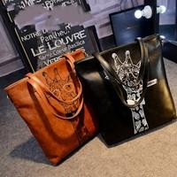2015 new Korean PU bags elk Mobile Messenger bag fashion shoulder bag printed shopping bags printed shipping
