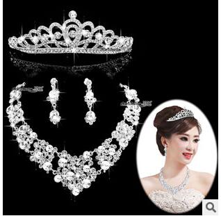 free shipping 2015 new design fashion women bridal wedding crown necklace earrings set women marriage jewelry