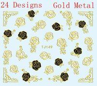 24 Designs Nail Art Stickers Vintage Flowers Roses Nail Art Metallic Gold Black White TJ133-156