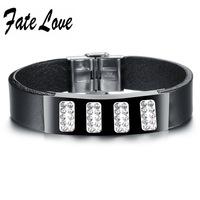 Punk Genuine Leather mix Metal  Bracelet Cubic Zirconia Stones High Quality Wristband high quality Cowhide Bracelet Adjustable