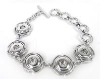 Free shipping mini 1.2cm  five metal button charm Bracelet  DIY Fashion metal snap button Jewelry