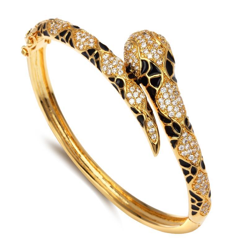 CZ Cubic Zirconia Bangle Snake Thin Small Fashion Top Selling Popular Lady Fashion Jewelry Fine Quality Black Epoxy - VC Mart(China (Mainland))