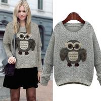Fashion street style owl sweater female 2014 autumn pullover sweater women's 8926