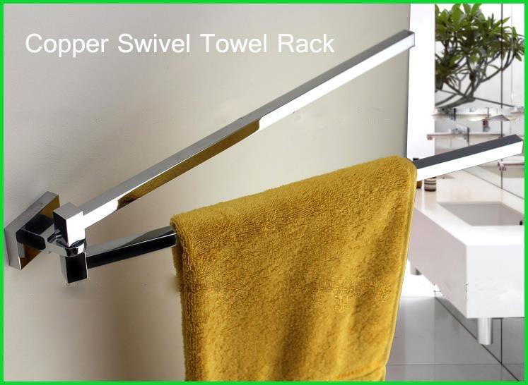 Square Copper Chrome Swivel Towel Bars Bathroom Rack(China (Mainland))