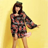 2014 spring hot-selling new arrival o-neck long-sleeve sweet Print princess chiffon shirt Blouses & Shirts