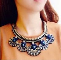 Korean version jewelry blue bird tail exaggerated fake collar female luxury crystal decorative false collar necklace