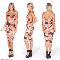 Black Red Floral Print Plunging Midi Dress LC21855