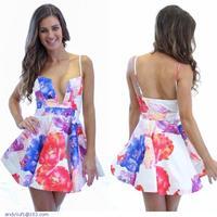 Fresh Plunging Cutout Neck Print Skater Dress LC21848
