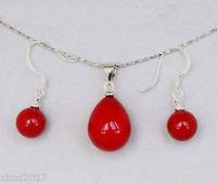 New South Ocean noblest red shell pearl pendant 10mm earrings set