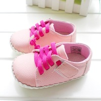 2015 spring new Genuine Leather Upscale baby shoes Casual slip Girl baby toddler shoes Pink, sky blue, white three color options