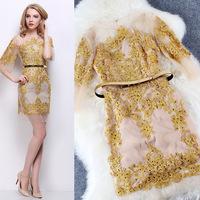 2015 Spring Brand Women Red Blue Elegant Embroidery Mesh Diamonds Dress Bodycon  Sheath Sexy Party Dresses  LIREN D20306