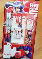 Wholesale 20 set Big Hero 6 Baymax Stationery Set ruler pencil eraser sharpener great gift for boys girls kids free shipping